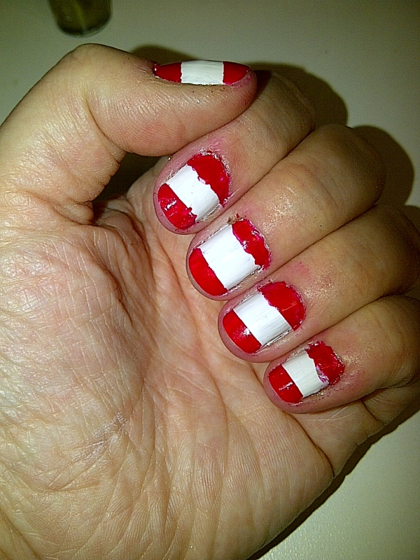 Apply a coat of coloured polish over the whole nail. I've used Nails Inc in St James.