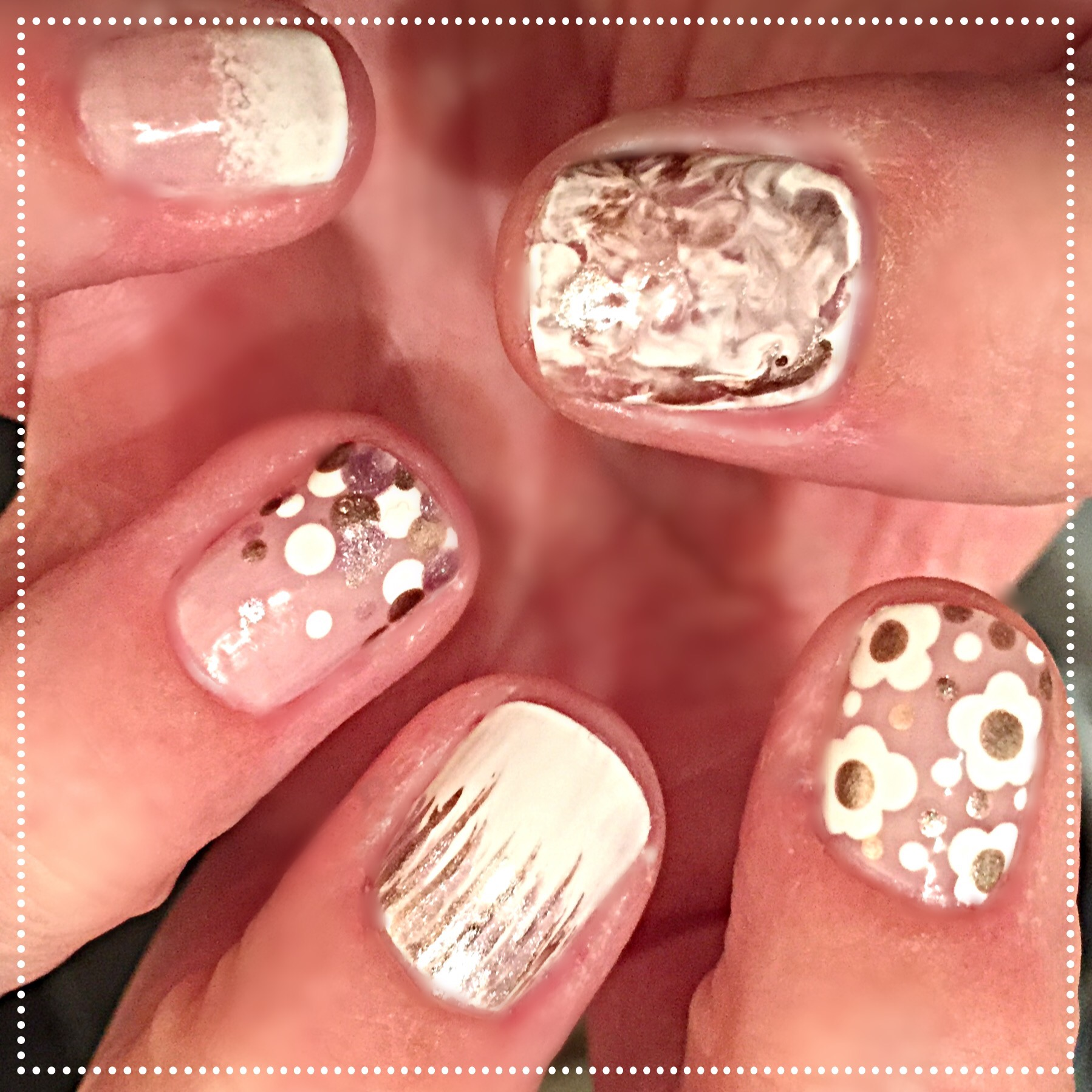 5 in 1 easy wedding nails beginnersnailarts blog the last step for each design is to clean up and add topcoat prinsesfo Gallery