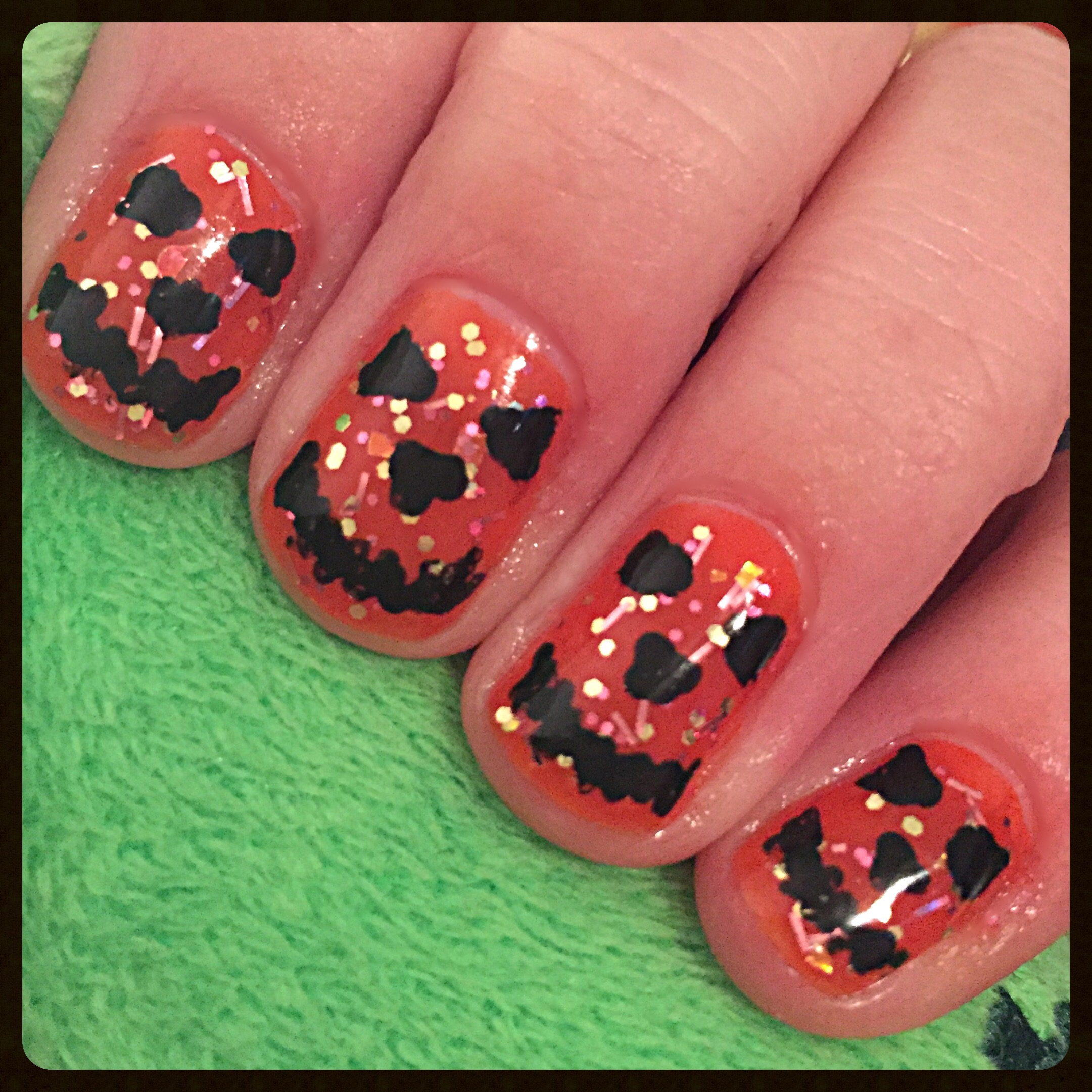 Jack-O-Lantern Nails | beginnersnailart\'s Blog