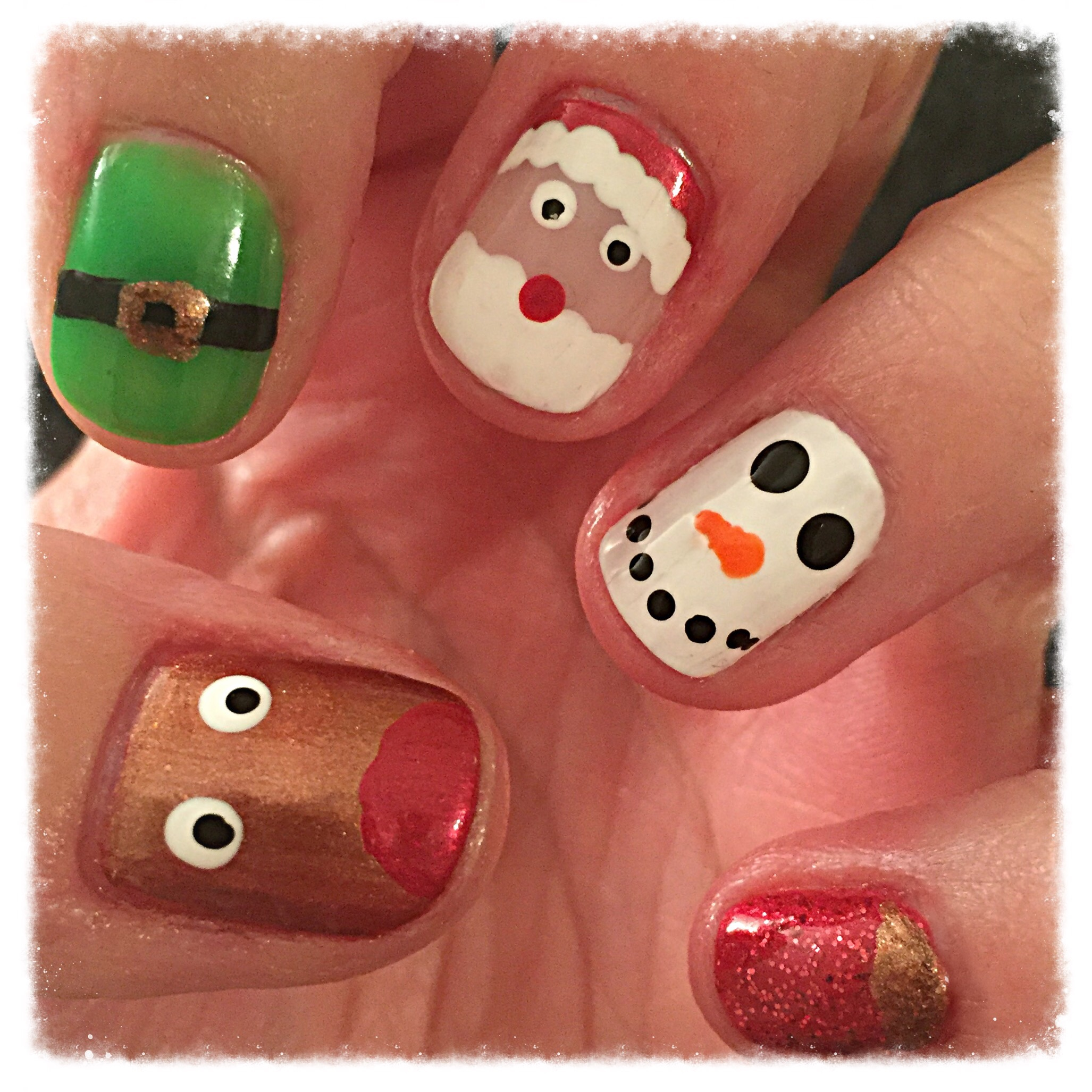 5 In 1 Christmas Nail Art Beginnersnailarts Blog